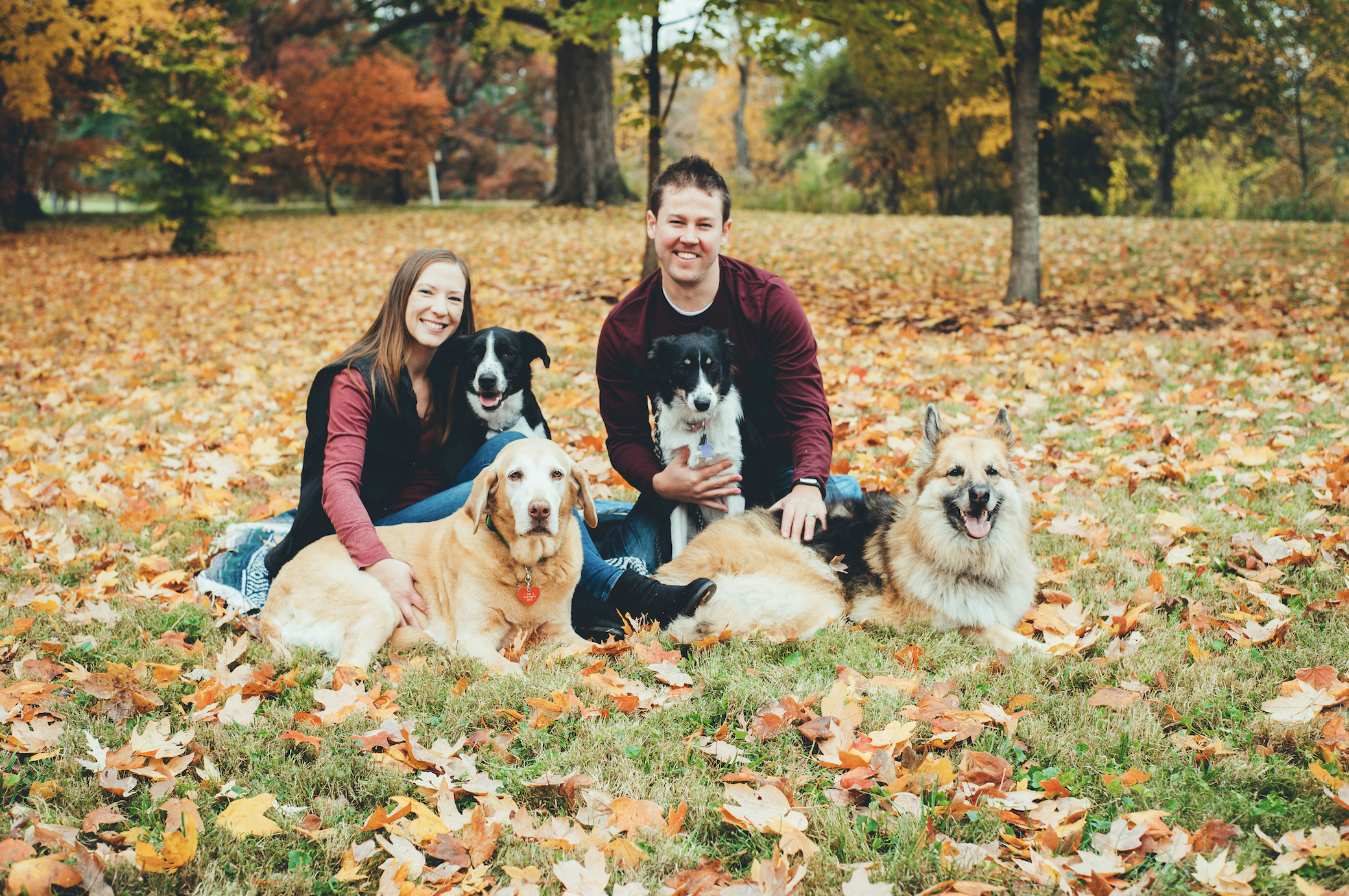 bright coral creative Fall Portraits Dog Lover Family